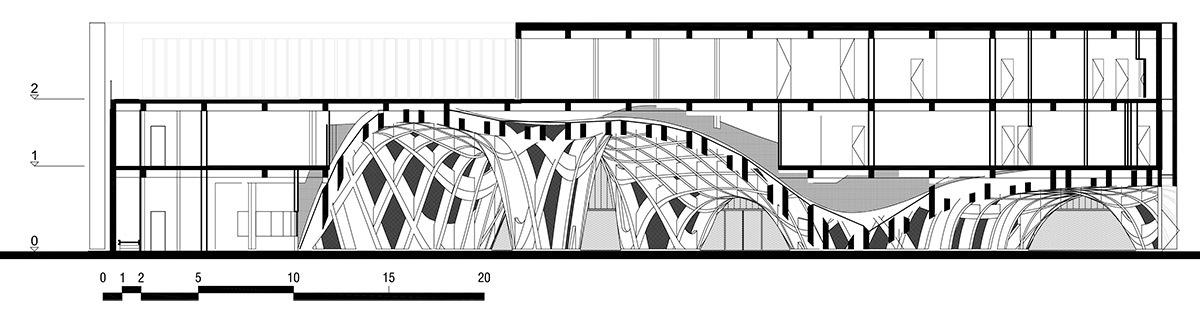 Expo 2015, Pavillon France, Milan, Italie - Coupe transversale © XTU Architects