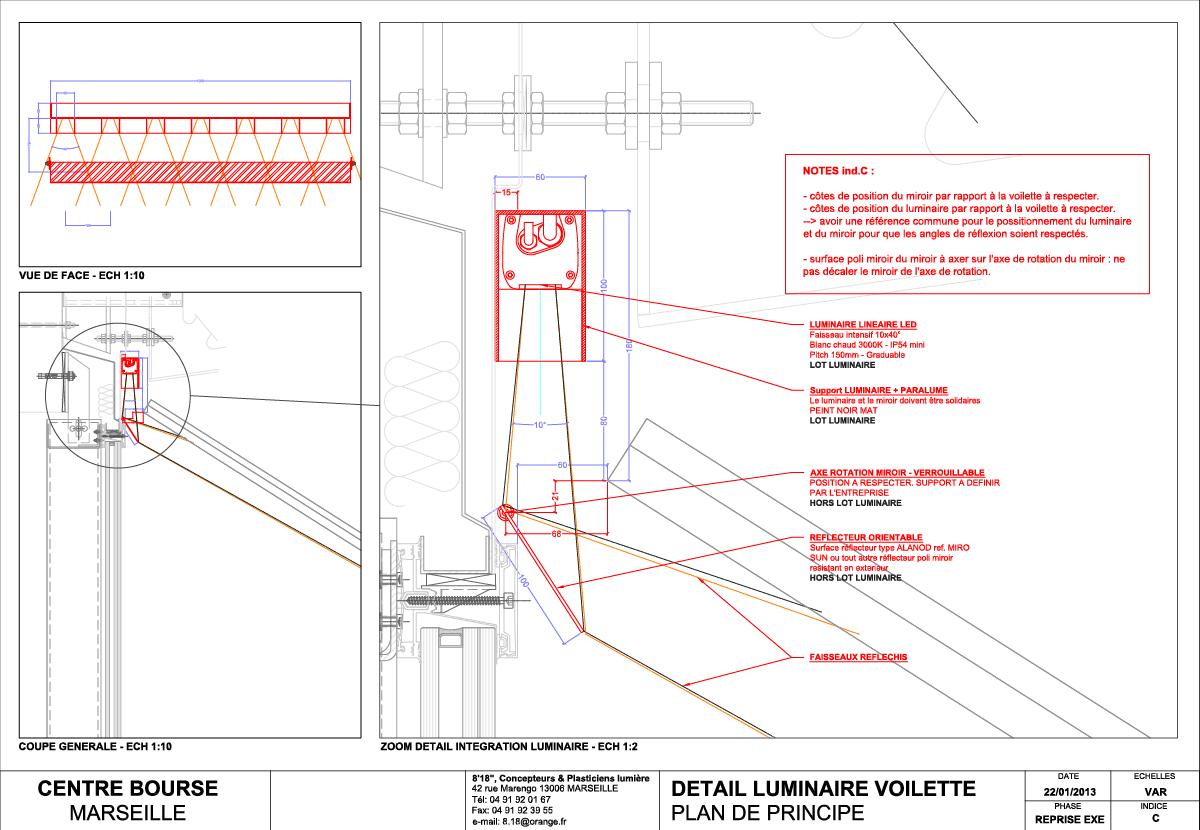 Galeries Lafayette, Centre Bourse, Marseille, France - Coupe de détail sur le luminaire et le miroir de la voilette basse - Architectes Moatti-Riviere © 8'18'' Marseille, concepteur lumière