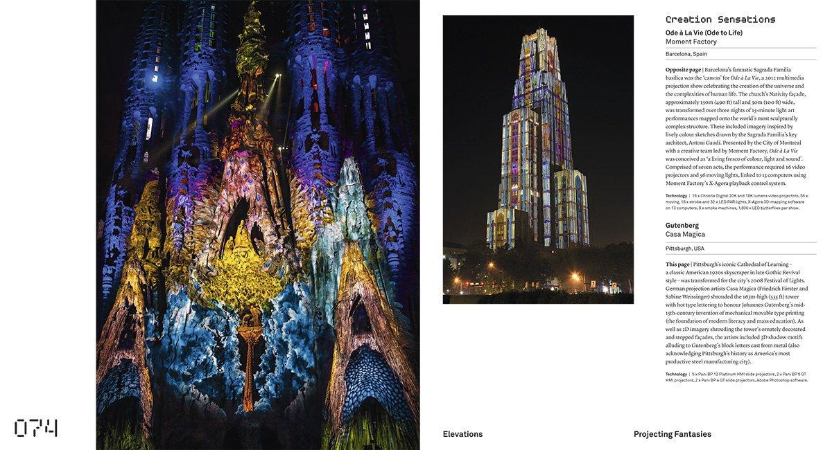 Extrait du livre Superlux, Smart Light Art Design Architecture for Cities - page 74-75 © Moment Factory, Casa Magica, Thames & Hudson