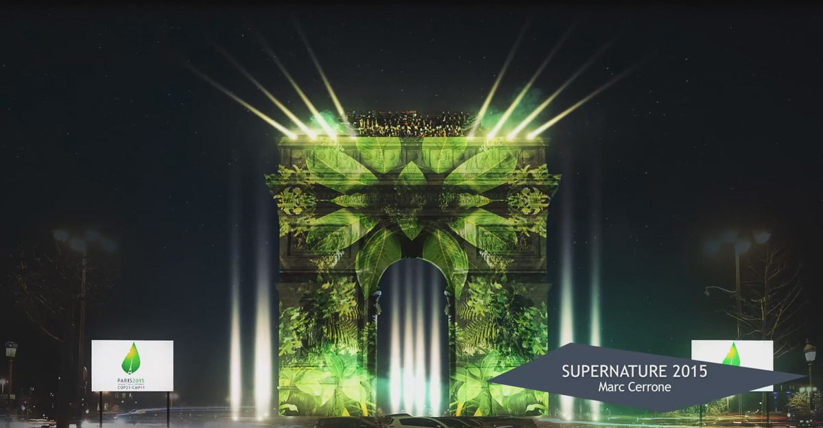 Supernature 2015 - Simulation sur l'Arc de Triomphe, Paris, France © Cerrone