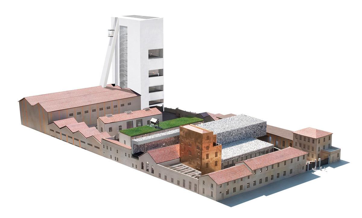 Fondazione Prada, Milan, Italie - Axonométrie du projet © OMA