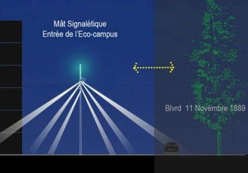 Scénographie de entrée de eco-campus de la Doua, Villeurbanne - Infographie du projet du Ms Eclairage Urbain 2015 - INSA de Lyon © Hadeel Dawahra, Hélene Loewenguth, Nour Moussawi