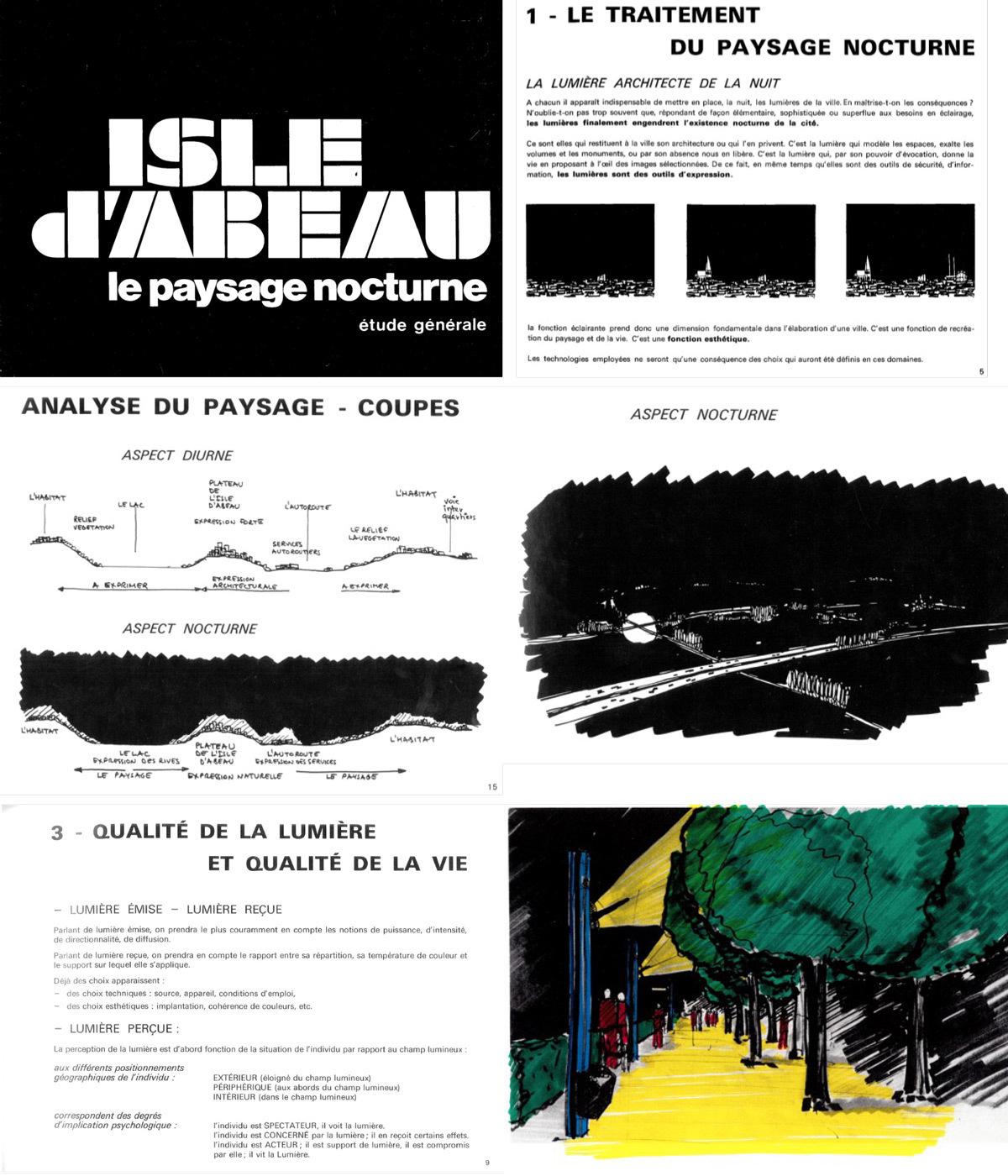 Paysage nocturne de la ville Nouvelle de l'Isle d'Abeau, 1973 - extrait des 45 pages - schémas de principe © ECA - Etudes et Création d'Ambiance - P. Arnaud et A. Weil