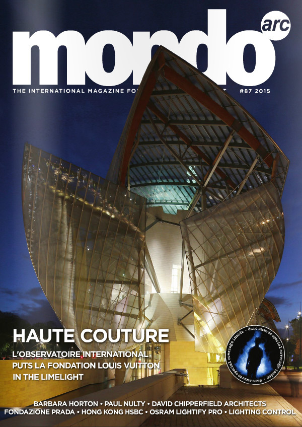 Mondo*arc - October-November 2015 - No 87 - Fondation Louis Vuitton, Paris, France - Couverture du magazine © L'Observatoire International - Frank Gehry - Mondiale Publishing