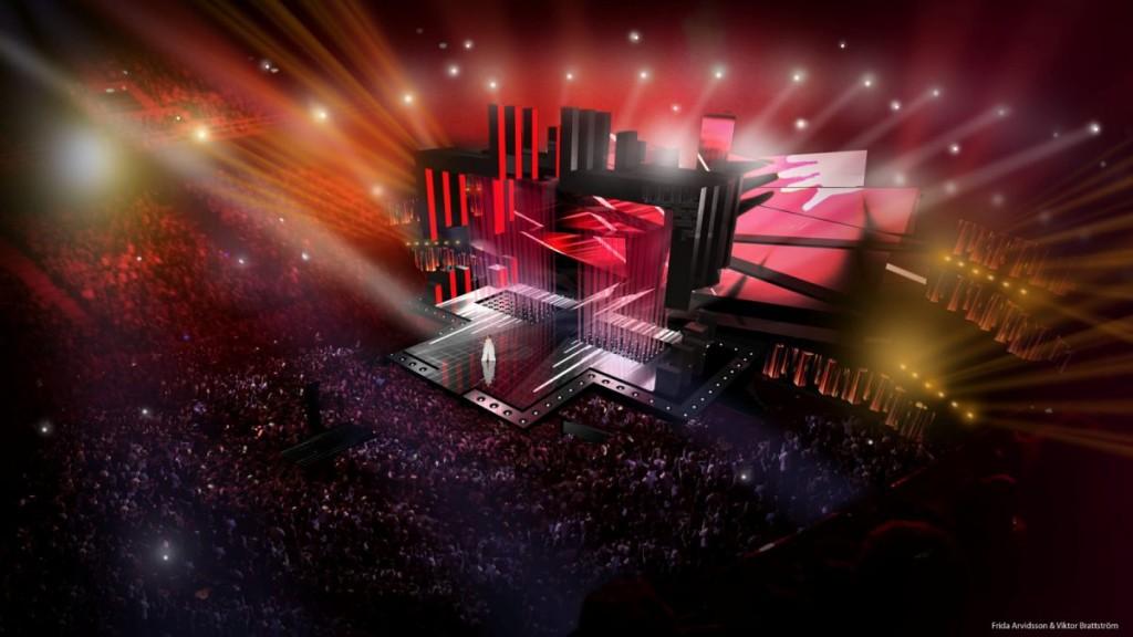 Infographie du design de la scène 1 - Eurovision 2016, Stockhom, Suède - Copyright Frida Arvidsson et Viktor Brattström - SVT