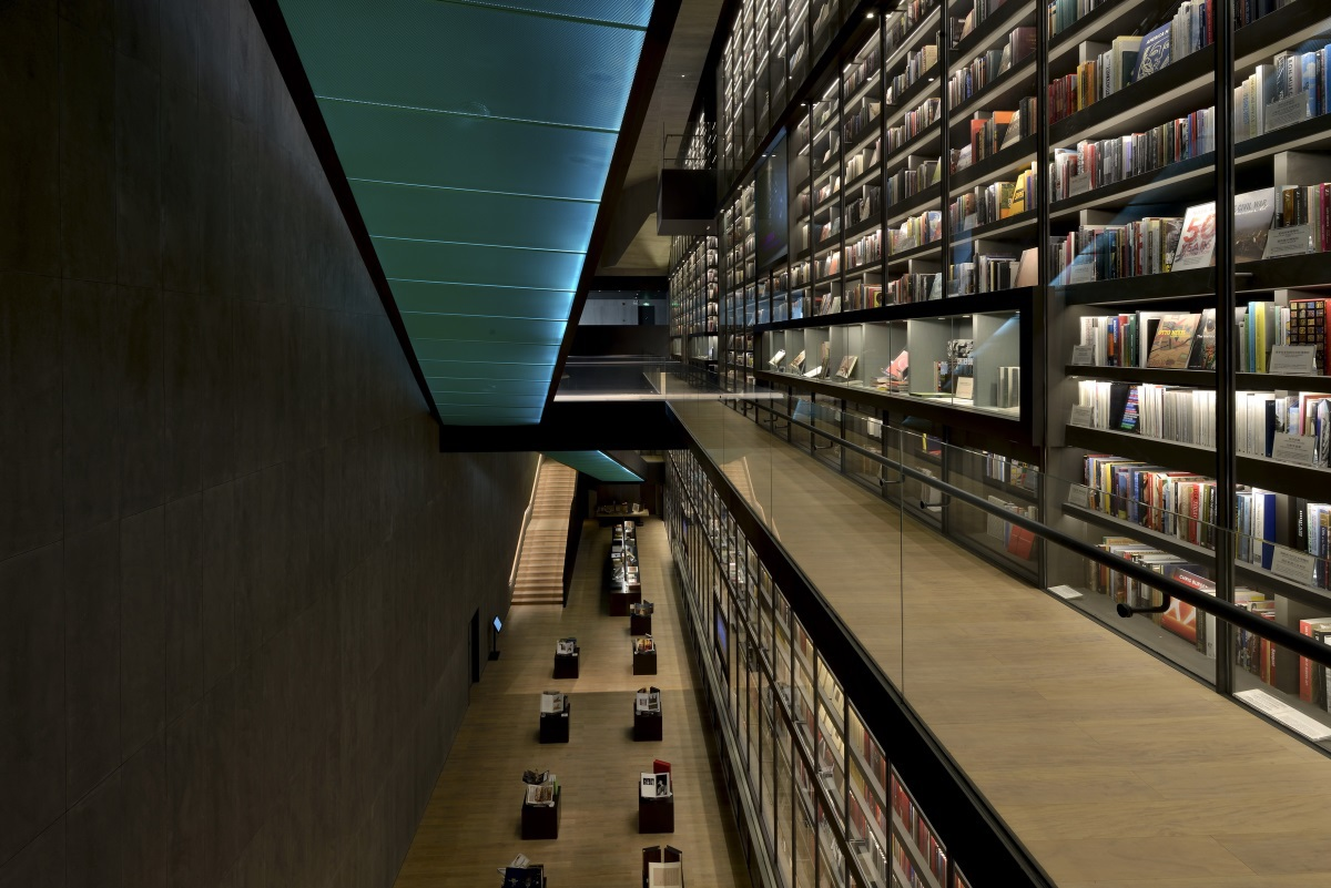 Mur du livre Artron, Shenzen, Chine - Architecture Wendell Burnette Architects et Urbanus Architecture & Design – Conception lumière Originator Lighting Design Consultants © Chin-Ming Cheng