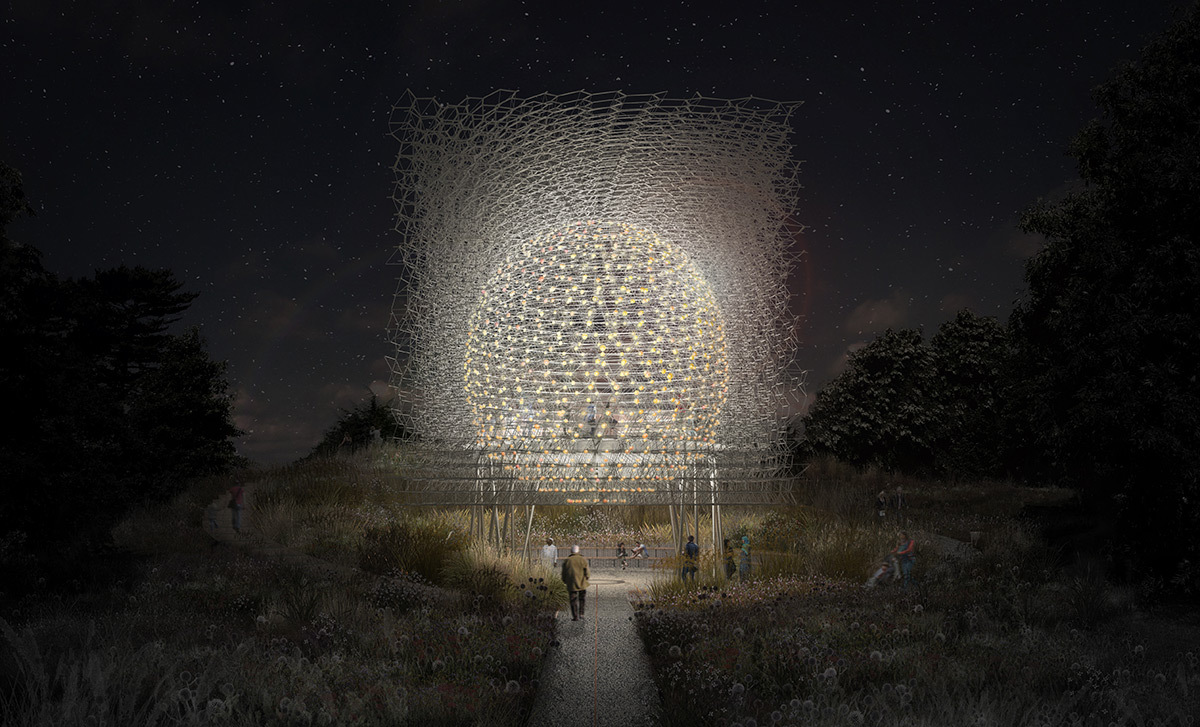 Render of The Hive at Kew Gardens by night - Artiste Wolfgang Buttress