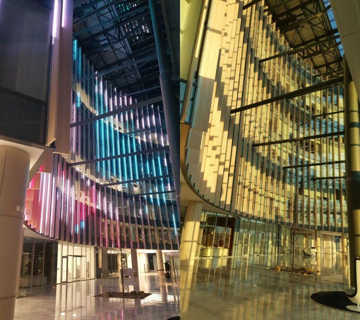 ForteBank, Astana, Kazakhstan - Vue de la structure lumineuse dans l'atrium - Conception et image : Alexandre Kolinka