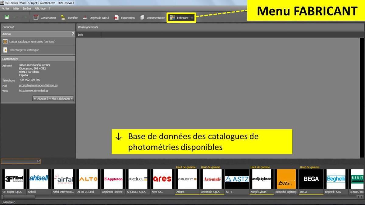DIALux-evo-6-menu-8-fabricant-en-francais-Vincent-Laganier-Light-ZOOM-Lumiere