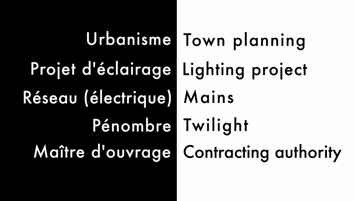Traduction français-anglais, extrait du Lexique de l'éclairage professionnel