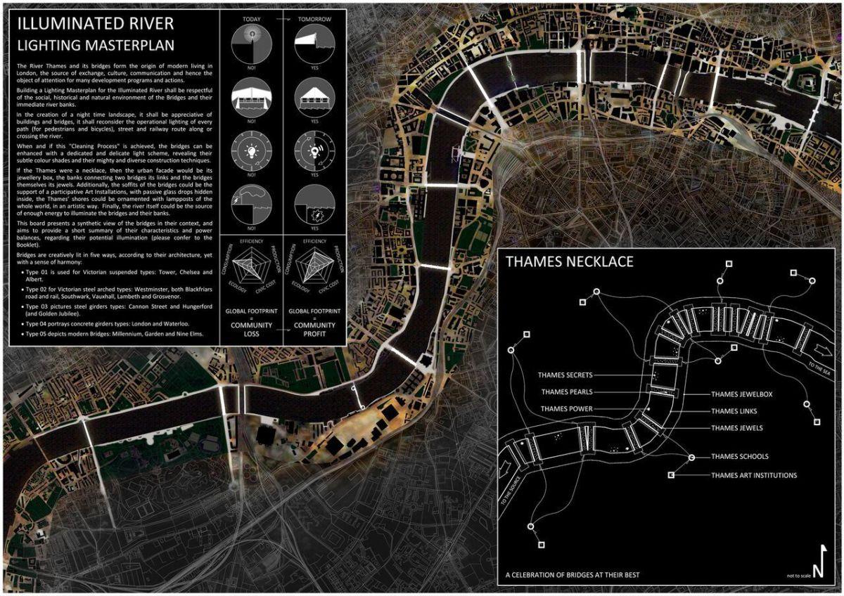 Vue générale du projet de mise en lumière, London, UK © MRC and Les Éclairagistes Associés
