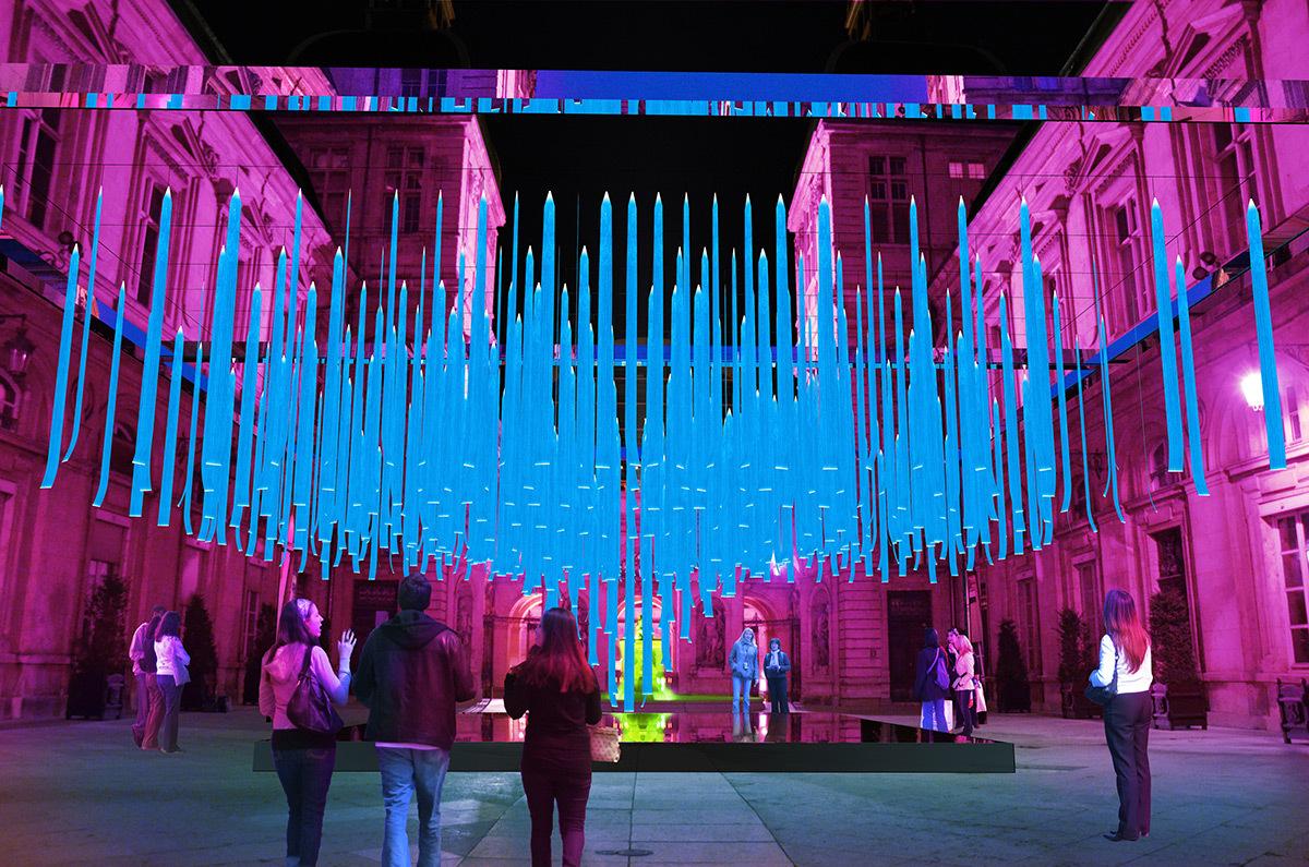 Platonium - Hôtel de ville © Eric Michel, Akari-Lisa Ishii © Simulation Fête des lumieres 2016, Lyon