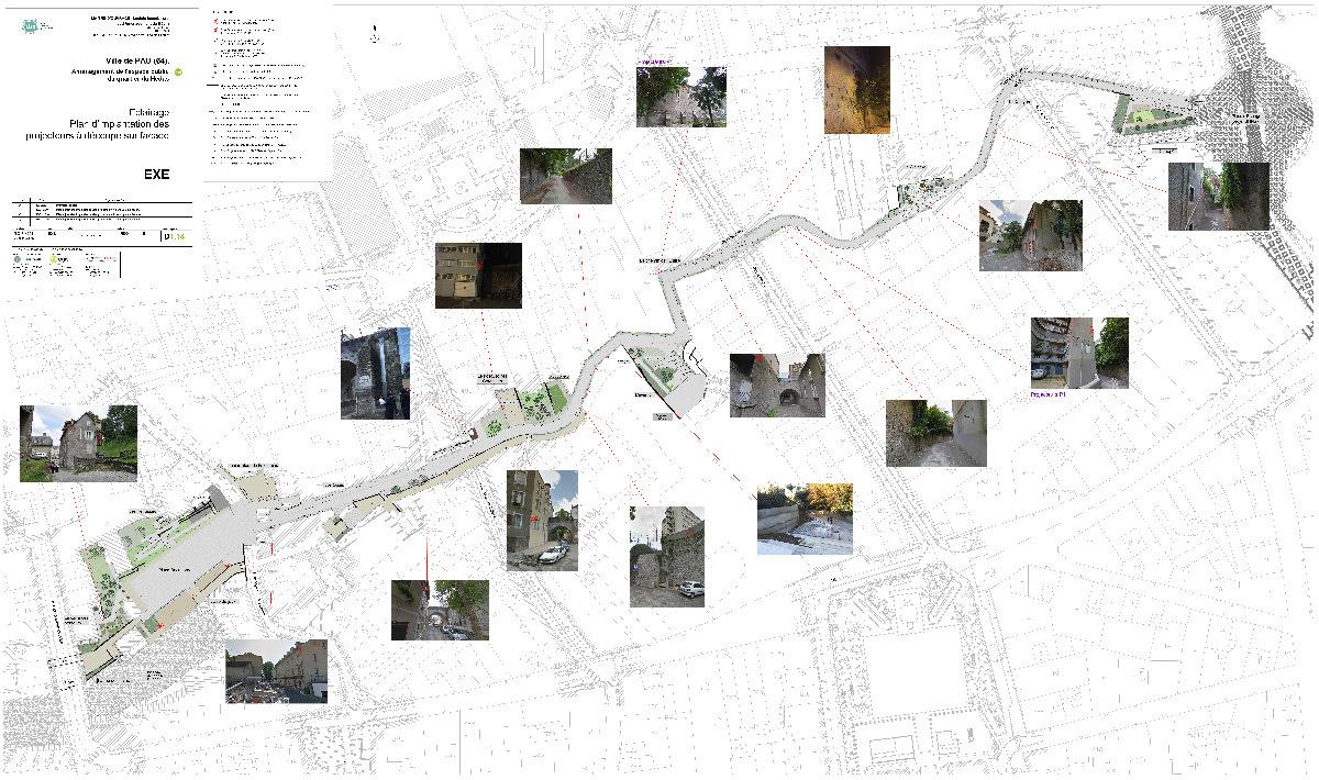 Quartier Hédas, Pau, France - projet éclairage, implantation des découpes - Dessin et photos : Quartiers Lumières