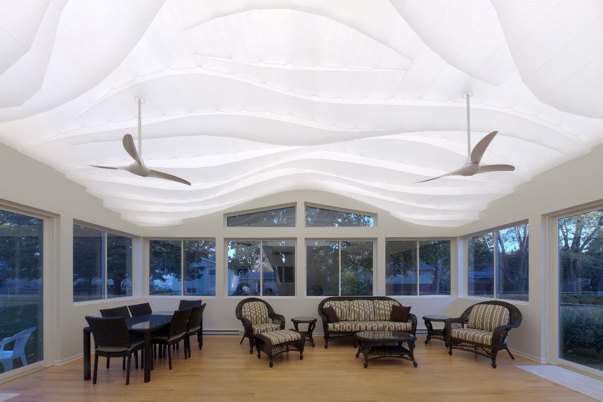 Vue à l'est, la nuit - Maison privée, Crystal Lake, Etats-Unis - Flynn Architecture et Design © Matt Flynn