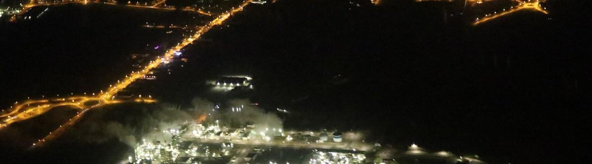 Nuisances lumineuses en vue aérienne nocturne