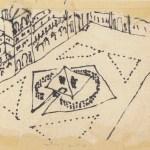 Dessin du projet d'accès a l'accueil de la Pyramide du Louvre, Paris - 1983 - encre sur serviette en papier © Yann Weymouth