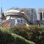 Cathédrale Notre-Dame de Paris, coeur sans toiture, facade est, arc-boutant avec contreventement poutre en bois - Septembre 2019 © Vincent Laganier