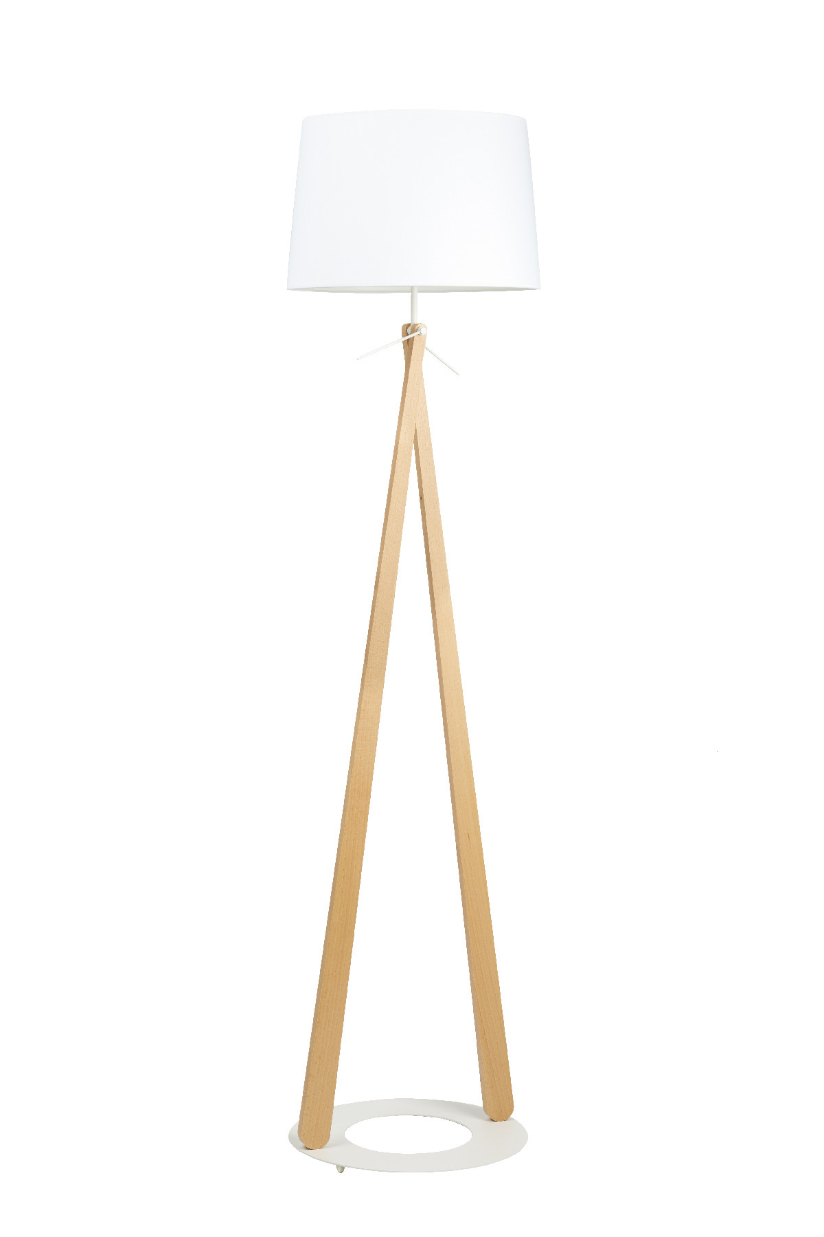 Zazou LS, lampadaire en tissu, bois hêtre et acier laque © Aluminor