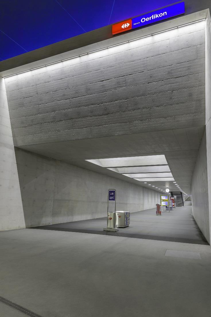 Nouvelle gare de Zurich Oerlikon, Zurich, Suisse - Concepteur lumière : agence Vogtpartner © René Dürr