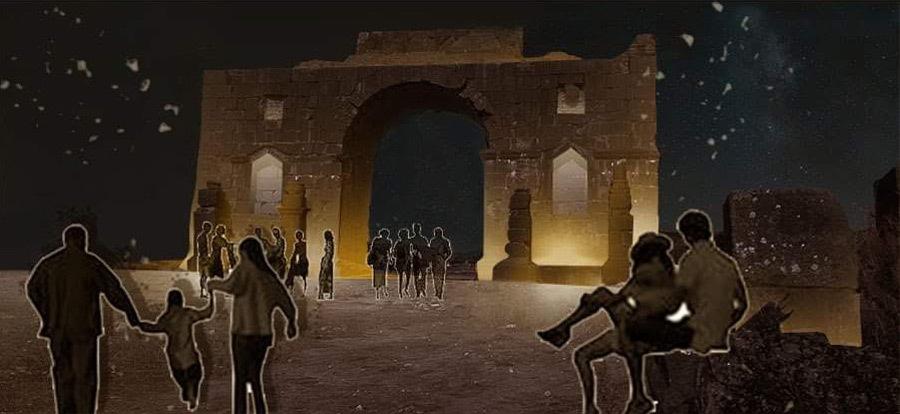Simulation lumière, arc de Caracalla, Volubilis, Maroc - Tifawine, Illuminate, équipe 8 © Bassiouni Wafa et Machhour Btissam
