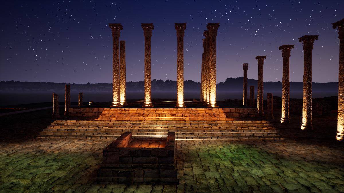 Simulation lumière, capitole, Volubilis, Maroc - Tifawine Light Contest, Illuminate, équipe 6 © Boutkida Hanane et Yazid Ben Chikh