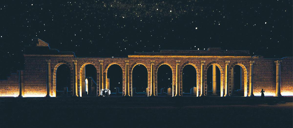 Simulation lumière, façade sud de la basilique, Volubilis, Maroc - équipe 14, Tifawine Light Contest, Illuminate © Mahmoud Ramdane et Soukaina Kssili