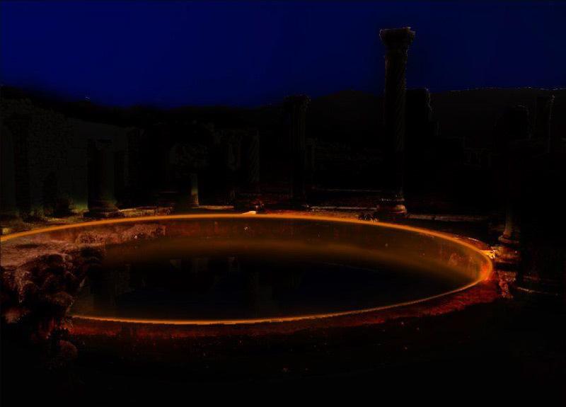 Simulation lumière, maison des colonnes, Volubilis, Maroc - Tifawine Light Contest, Illuminate, équipe 11 © Mehdi Chawki et Naoual Basma Koudia