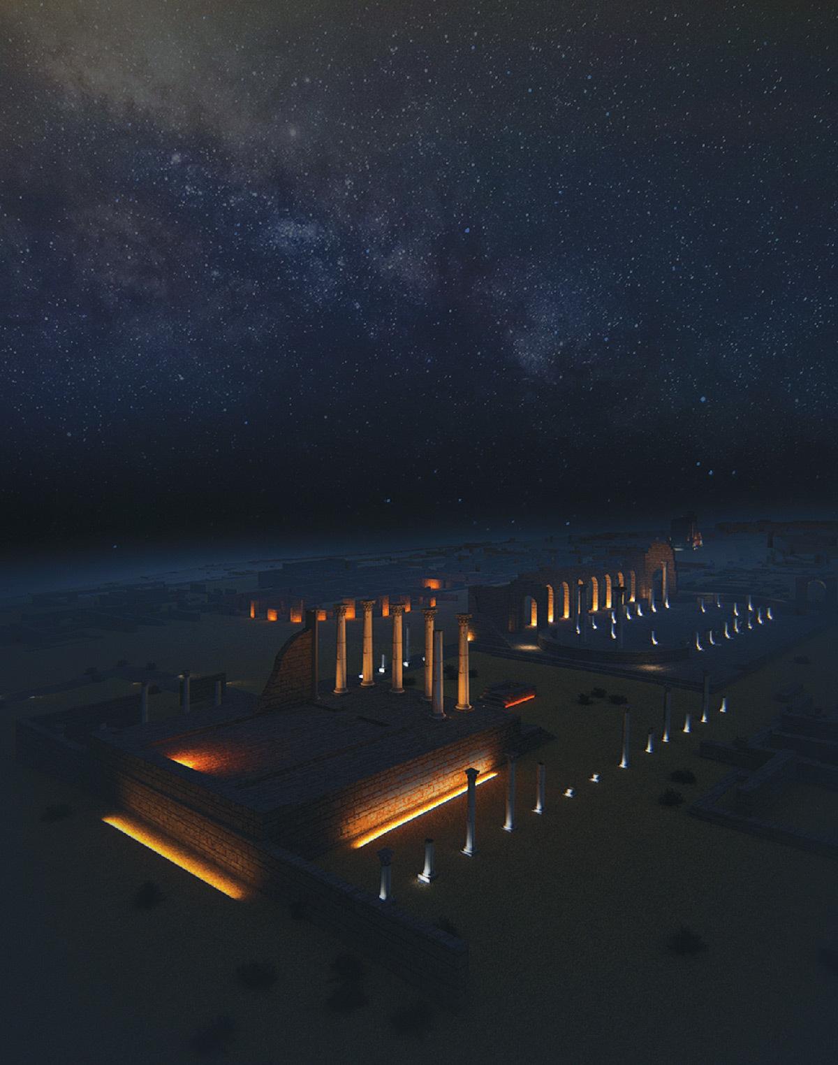 Simulation lumière, vue globale de la basilique et capitole, Volubilis, Maroc - Tifawine Light Contest, Illuminate, équipe 14 © Mahmoud Ramdane et Soukaina Kssili