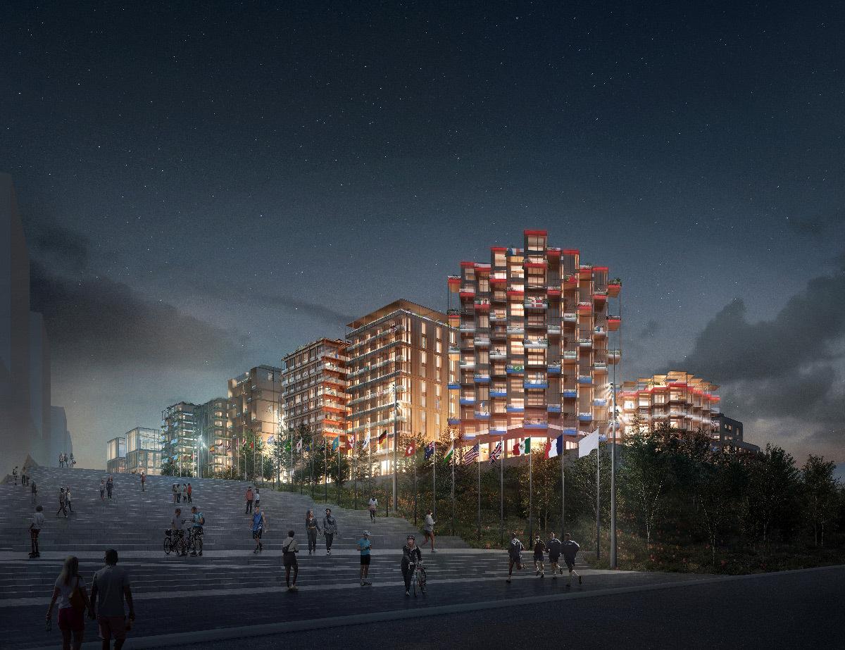 Perspective 3D, village des athlètes, Lot E, Jeux de Paris 2024, Saint-Ouen-sur-Seine