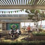 Perspective terrasse 3D, village des athlètes, Lot E, Jeux de Paris 2024