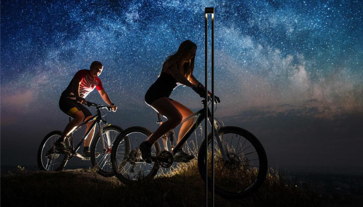 Colonne Onyx, solutions d'éclairage durable pour les pistes cyclables, Nowatt Lighting