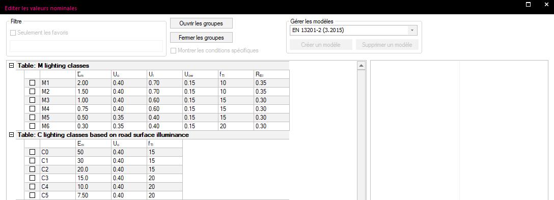 Présentation des performances selon la norme NF EN 13201-2 dans Relux Desktop