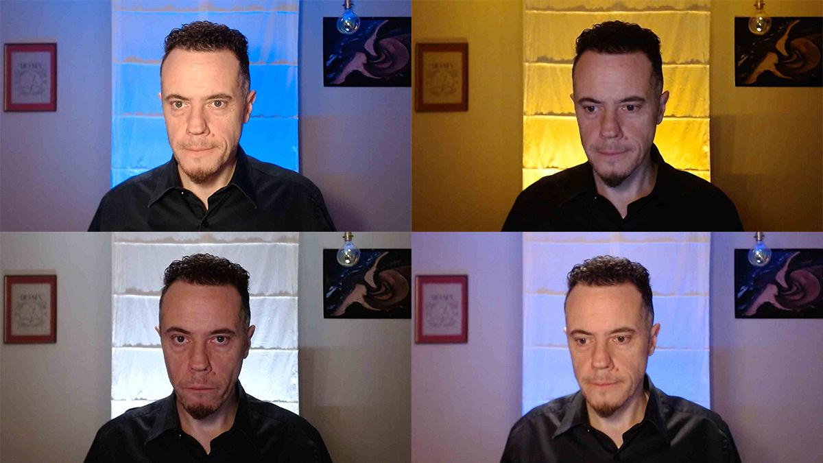 Webinaire, éclairage, arrière-plan du fond et le visage devant une webcam