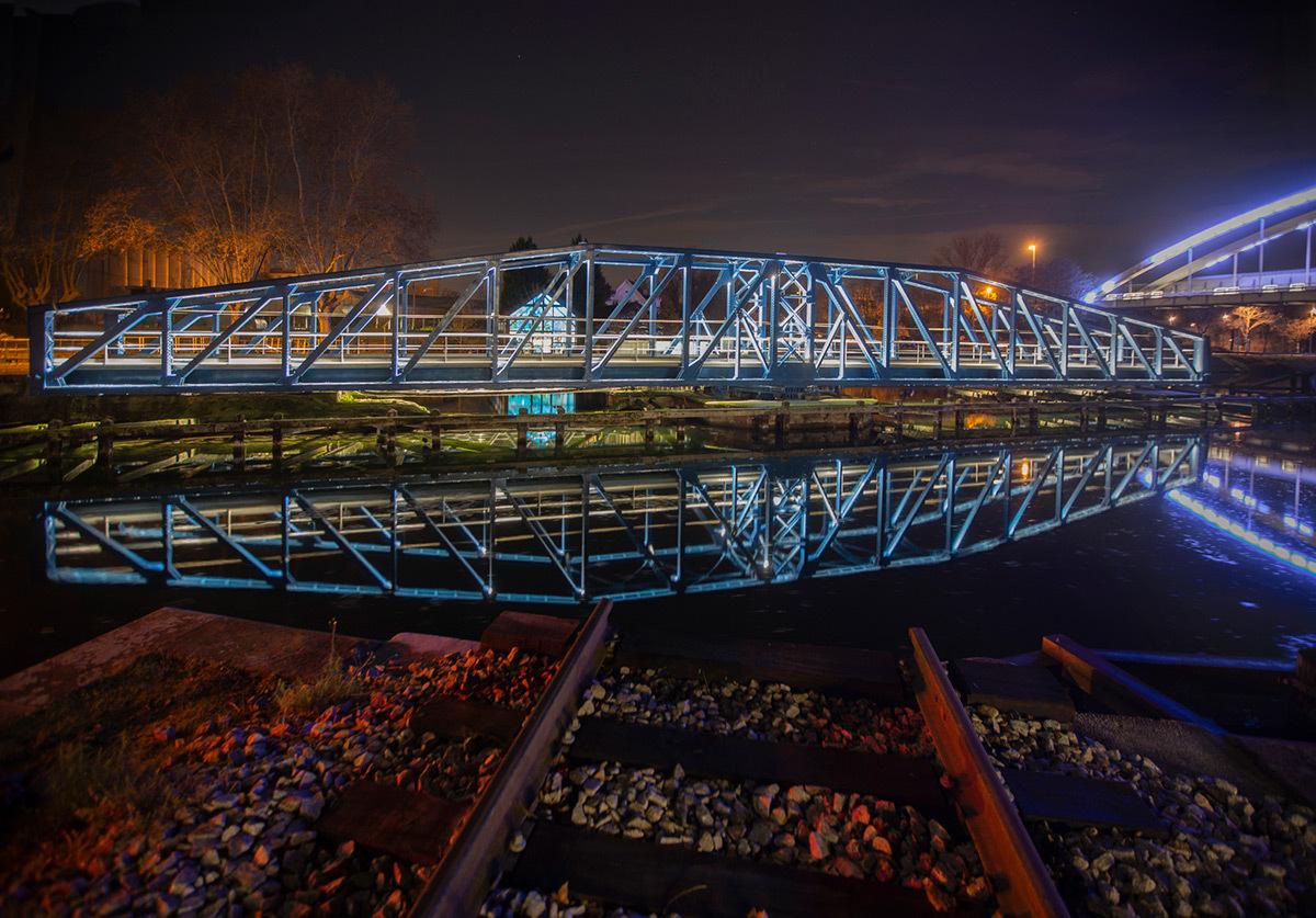 Pont Tournant, Strasbourg - Concepteur lumière : L'Acte Lumière, Jean-Yves Soëtinck