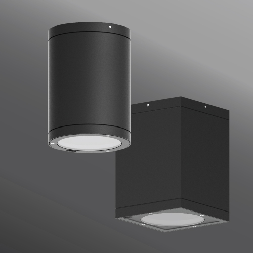 Tango cylindrical and square surface exterior downlight