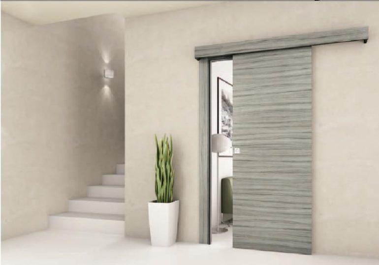 Porta interna in laminatoscorrevole esterno muro