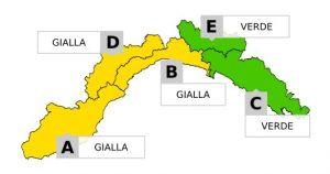 Nella foto, il dettaglio dell'allerta meteo gialla