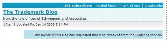Bloglines - TrademarkBlog