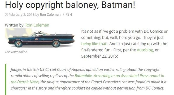 Batmobile copyright case