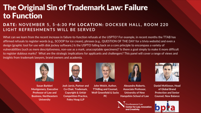 Failure to Function seminar - Northeastern Law, Nov 5 2019