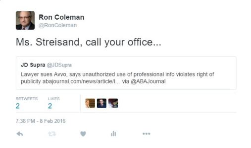Ms. Streisand call your office tweet