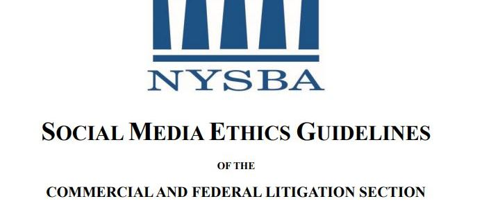 NYSBA Social Media Ethics Guidelines 2019