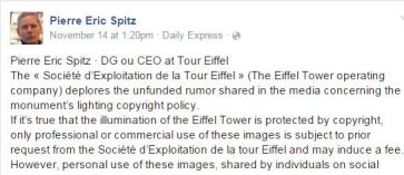 Pierre Eric Spitz statement - Eiffel Tower Copyright