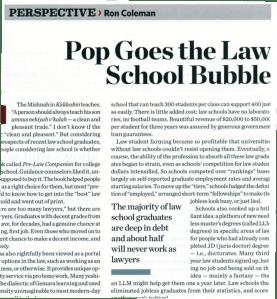 Ron Coleman on the Law School Bubble - Mishpacha magazine
