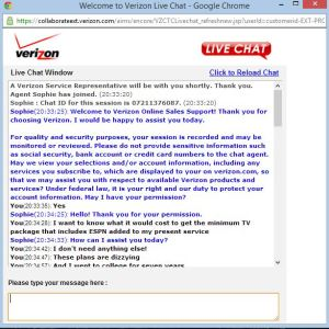 Verizon chat screen