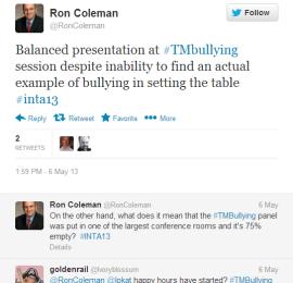 roncoleman tweet INTA trademark bullying