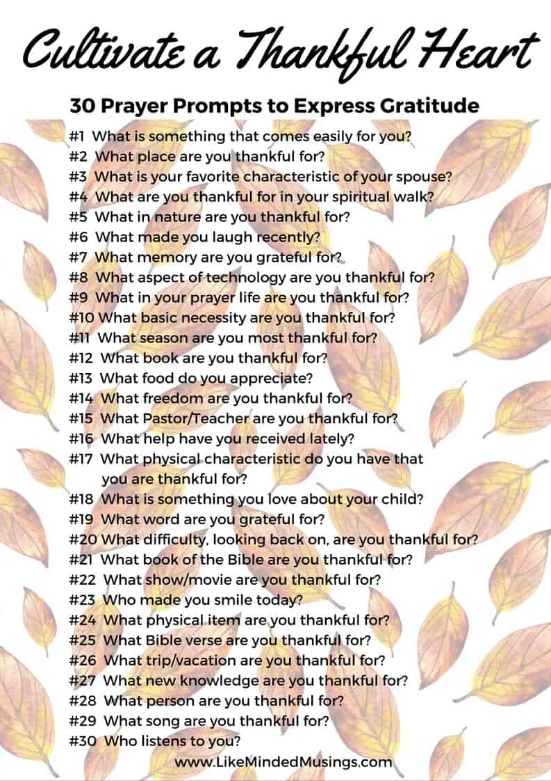 Cultivate a Thankful Heart - 30 Prayer Prompts to Express Gratitude