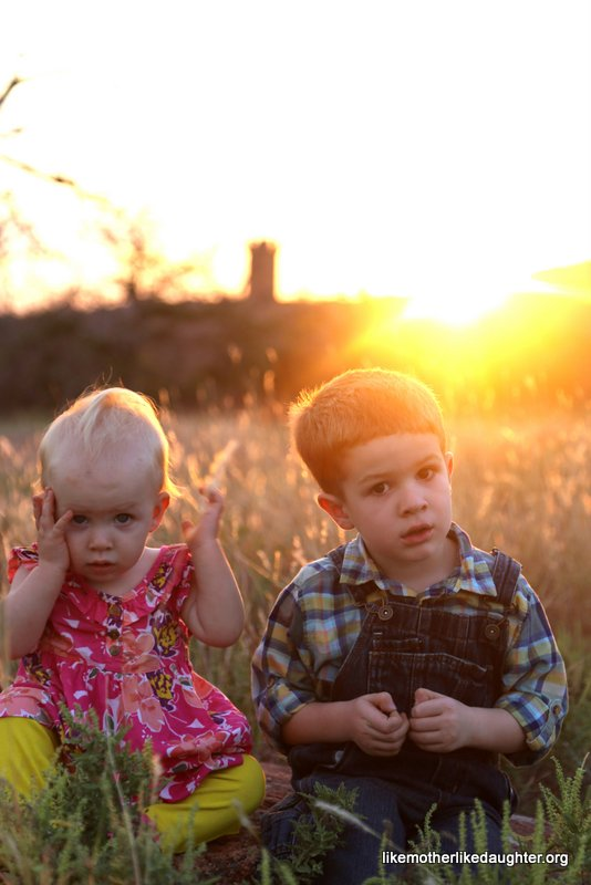 perplexed kids in sunset