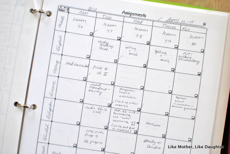 A weekly homeschool schedule