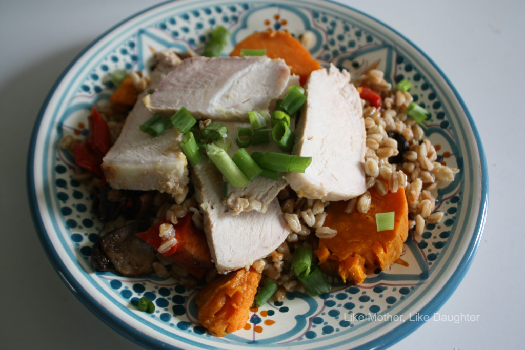Tasty farro salad with pork